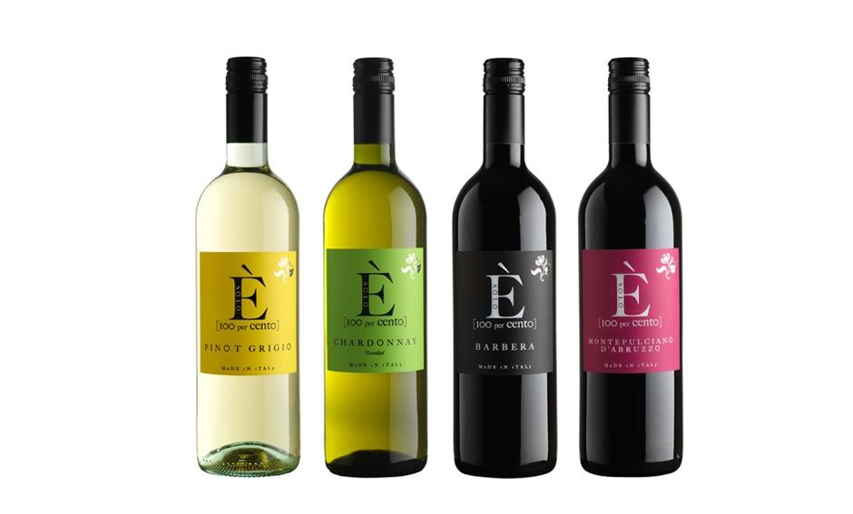 Orion Wines. Le etichette della linea È : Barbera, Pinot Grigio, Montepulciano, Chardonnay